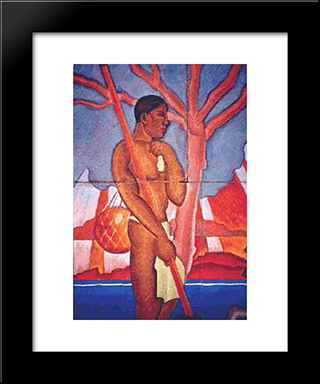 Hawaiian Figure:  Modern Black Framed Art Print by Arman Manookian