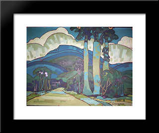 Hawaiian Landscape:  Modern Black Framed Art Print by Arman Manookian
