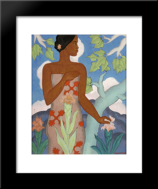 Hawaiian Woman:  Modern Black Framed Art Print by Arman Manookian