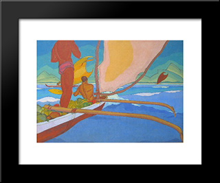 Men In An Outrigger Canoe Headed For Shore:  Modern Black Framed Art Print by Arman Manookian