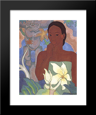 Polynesian Woman And Tiki:  Modern Black Framed Art Print by Arman Manookian