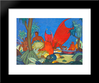Red Sails:  Modern Black Framed Art Print by Arman Manookian
