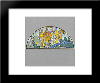 Watercolor Design For Mural:  Modern Black Framed Art Print by Arman Manookian