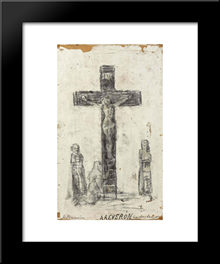 Crucifixion:  Modern Black Framed Art Print by Armando Reveron