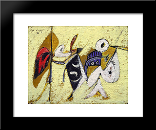 Battle At Sunset With The God Of Maize (Composition No. 1):  Modern Black Framed Art Print by Arshile Gorky