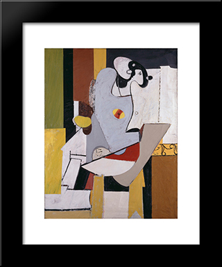 Blue Figure In A Chair:  Modern Black Framed Art Print by Arshile Gorky