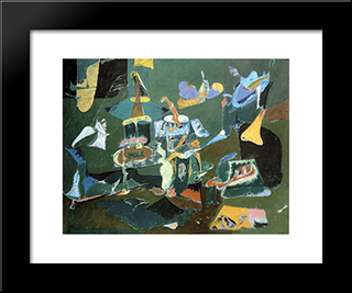 Dark Green Painting:  Modern Black Framed Art Print by Arshile Gorky