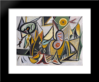 Enigmatic Combat:  Modern Black Framed Art Print by Arshile Gorky