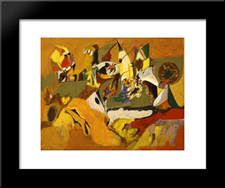 Golden Brown Painting:  Modern Black Framed Art Print by Arshile Gorky