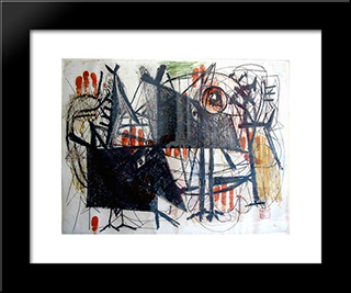 Hitler Invades Poland:  Modern Black Framed Art Print by Arshile Gorky
