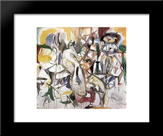 How My Mother'S Embroidered Apron Unfolds In My Life:  Modern Black Framed Art Print by Arshile Gorky
