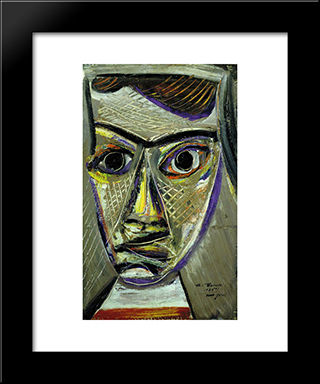 Man'S Head:  Modern Black Framed Art Print by Arshile Gorky