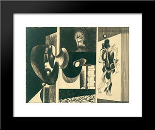 Nighttime, Enigma And Nostalgia:  Modern Black Framed Art Print by Arshile Gorky