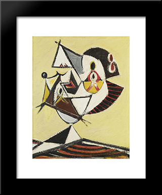 Portrait (Head):  Modern Black Framed Art Print by Arshile Gorky
