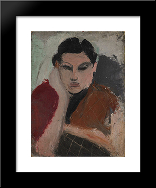 Portrait Of A Woman:  Modern Black Framed Art Print by Arshile Gorky
