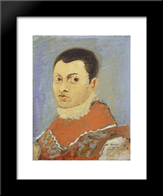 Portrait Of A Young Man:  Modern Black Framed Art Print by Arshile Gorky