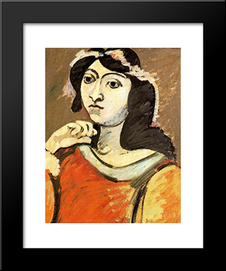Portrait Of Ahko:  Modern Black Framed Art Print by Arshile Gorky