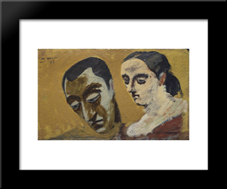 Portrait Of Myself And My Imaginary Wife:  Modern Black Framed Art Print by Arshile Gorky