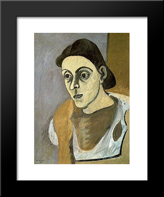 Portrait Of Vartoost : Custom Black Wood Framed Art Print by Arshile Gorky