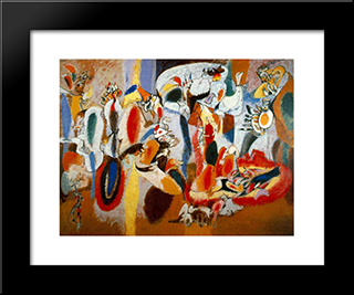 The Liver Is The Cock'S Comb : Custom Black Wood Framed Art Print by Arshile Gorky