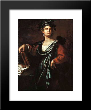 Clio, The Muse Of History:  Modern Black Framed Art Print by Artemisia Gentileschi