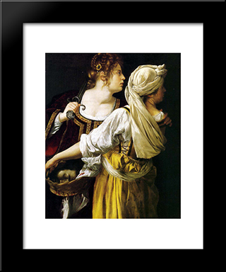 Judith And Her Maidservant:  Modern Black Framed Art Print by Artemisia Gentileschi