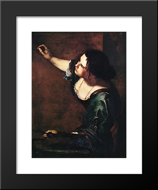 Self-Portrait As The Allegory Of Painting:  Modern Black Framed Art Print by Artemisia Gentileschi