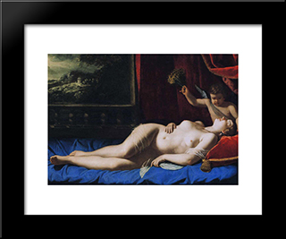 Sleeping Venus:  Modern Black Framed Art Print by Artemisia Gentileschi