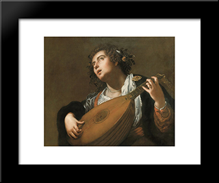 Woman Playing A Lute:  Modern Black Framed Art Print by Artemisia Gentileschi