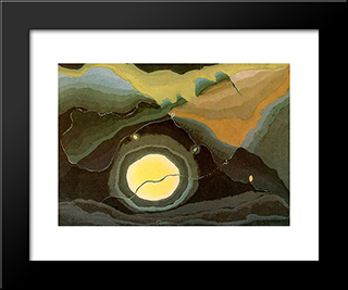 Me And The Moon:  Modern Black Framed Art Print by Arthur Dove