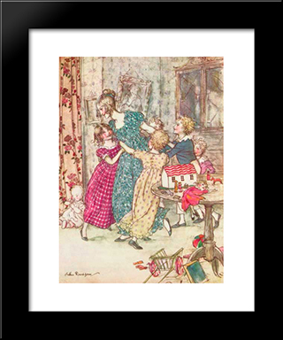 A Flushed And Boisterous Group:  Modern Black Framed Art Print by Arthur Rackham