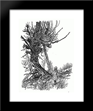 A Grin Without A Cat! It'S The Most Curious Thing I Ever Saw In All My Life:  Modern Black Framed Art Print by Arthur Rackham