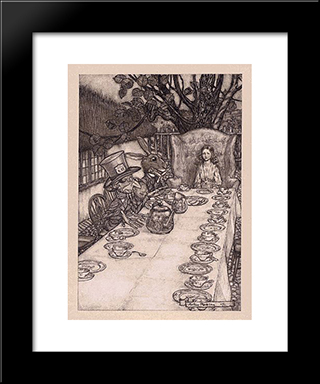A Mad Tea Party:  Modern Black Framed Art Print by Arthur Rackham