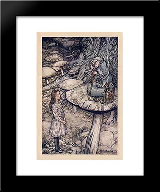Advice From A Caterpillar:  Modern Black Framed Art Print by Arthur Rackham