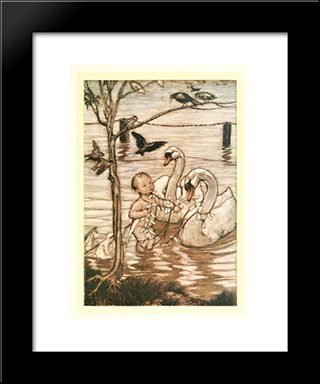 After This The Birds Said That They Would Help Him No More In His Mad Enterprise:  Modern Black Framed Art Print by Arthur Rackham