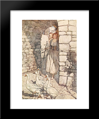 Alas! Dear Falada, There Thou Hangest:  Modern Black Framed Art Print by Arthur Rackham