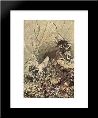 Alberich Drives In A Band Of Niblungs Laden With Gold And Silver Treasure:  Modern Black Framed Art Print by Arthur Rackham