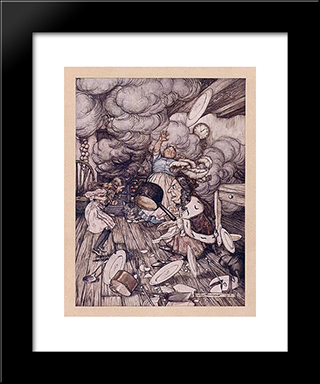 An Unusually Large Saucepan Flew Close By It, And Very Nearly Carried It Off:  Modern Black Framed Art Print by Arthur Rackham