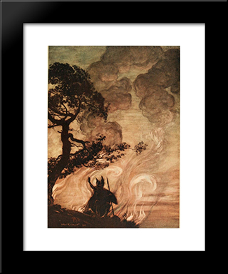 As He Moves Slowly Away, Wotan Turns And Looks Sorrowfully Back At Brunnhilde:  Modern Black Framed Art Print by Arthur Rackham