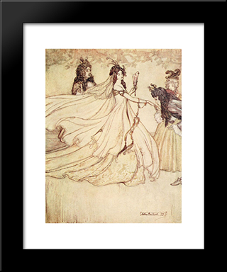 Ashenputtel Goes To The Ball:  Modern Black Framed Art Print by Arthur Rackham