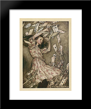 At This The Whole Pack Rose Up Into The Air, And Came Flying Down Upon Her:  Modern Black Framed Art Print by Arthur Rackham