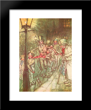 Bob Cratchit Went Down A Slide On Cornhill:  Modern Black Framed Art Print by Arthur Rackham