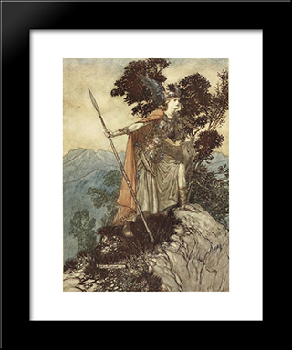 Brunnhilde:  Modern Black Framed Art Print by Arthur Rackham