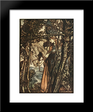 Brunnhilde Slowly And Silently Leads Her Horse Down The Path To The Cave:  Modern Black Framed Art Print by Arthur Rackham