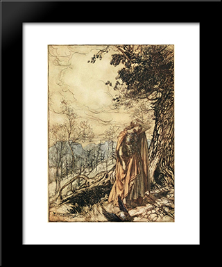 Brunnhilde Stands For A Long Time Dazed And Alarmed:  Modern Black Framed Art Print by Arthur Rackham