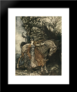 Brunnhilde With Her Horse, At The Mouth Of The Cave:  Modern Black Framed Art Print by Arthur Rackham