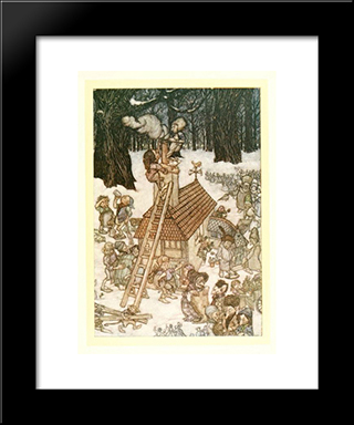 Building The House For Maimie:  Modern Black Framed Art Print by Arthur Rackham