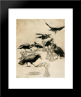 But They Said One After Another:  Modern Black Framed Art Print by Arthur Rackham
