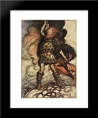 Donner, Your Lord, Summons His Hosts!:  Modern Black Framed Art Print by Arthur Rackham