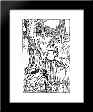 Enide With The Golden Hawk:  Modern Black Framed Art Print by Arthur Rackham